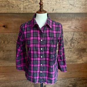 Pink Victoria's Secret Black/Pink Flannel Shirt
